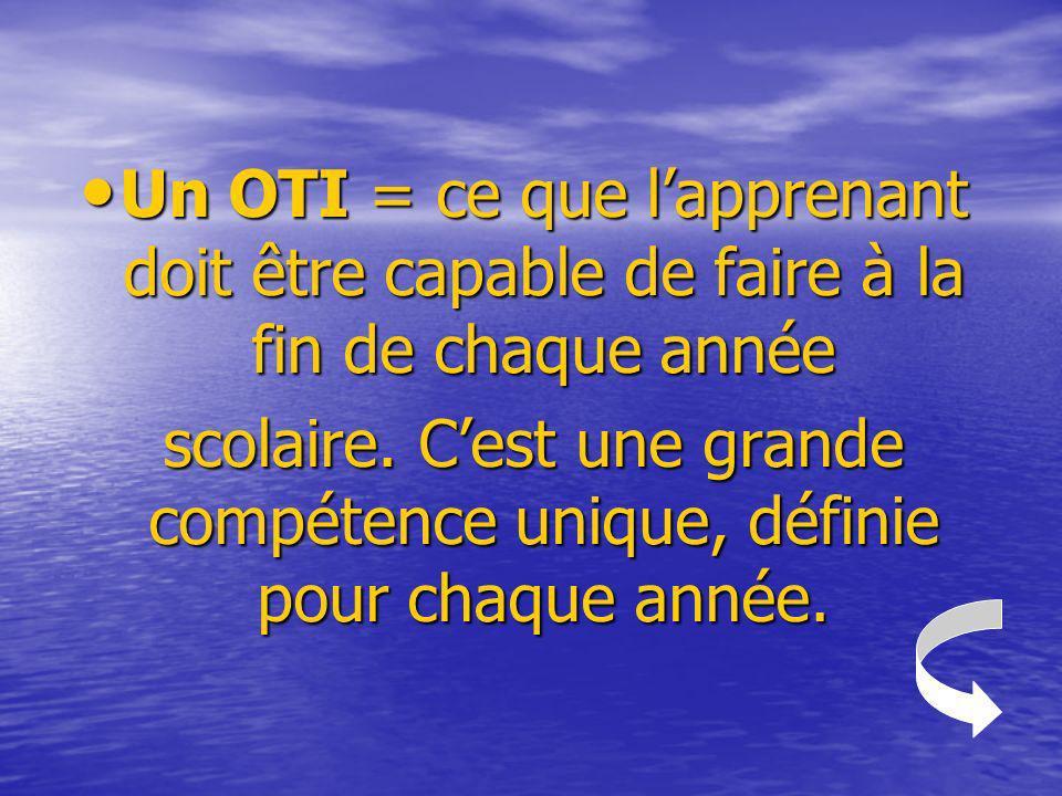 Un OTI = ce que l'apprenant doit être capable de faire à la fin de chaque année