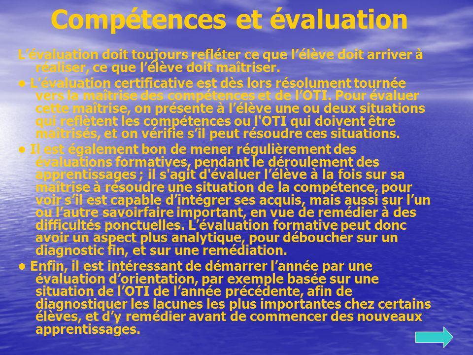 Compétences et évaluation