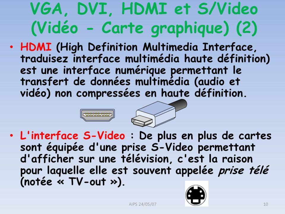 VGA, DVI, HDMI et S/Video (Vidéo - Carte graphique) (2)