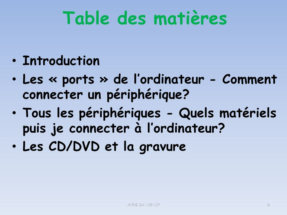 Table des matières Introduction