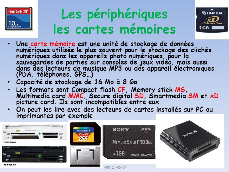 Les périphériques les cartes mémoires