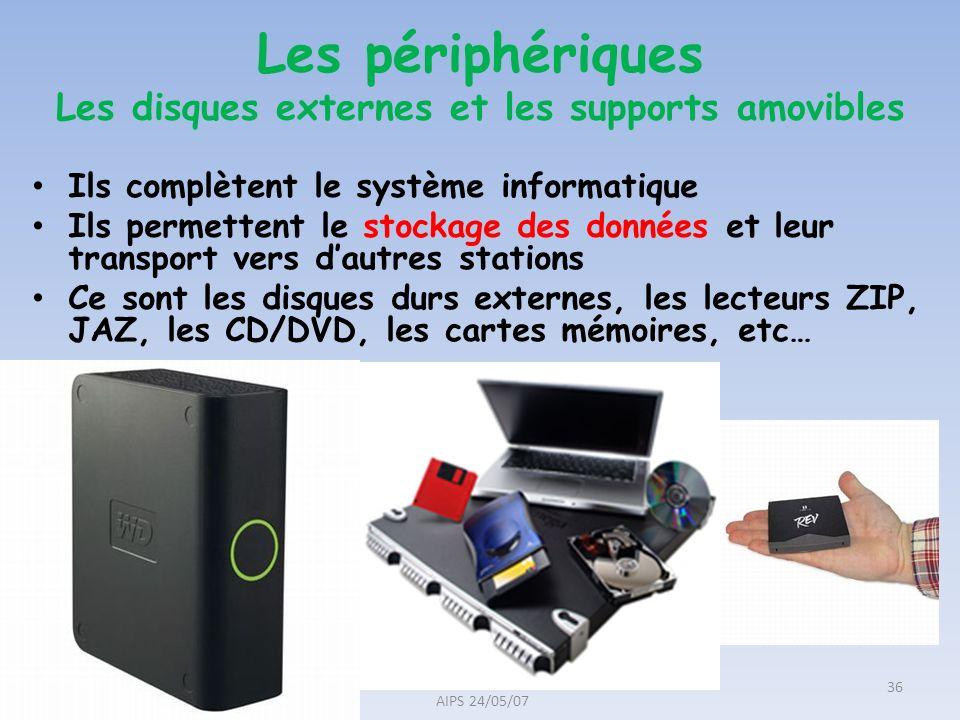 Les périphériques Les disques externes et les supports amovibles
