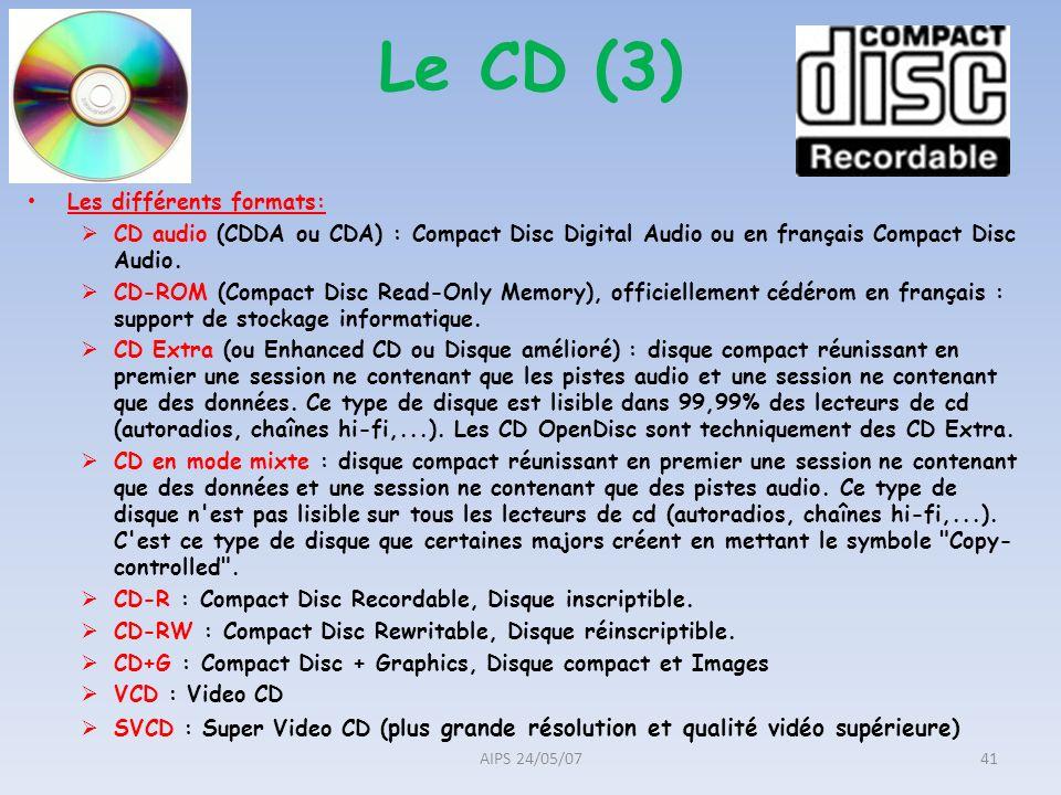 Le CD (3) Les différents formats: