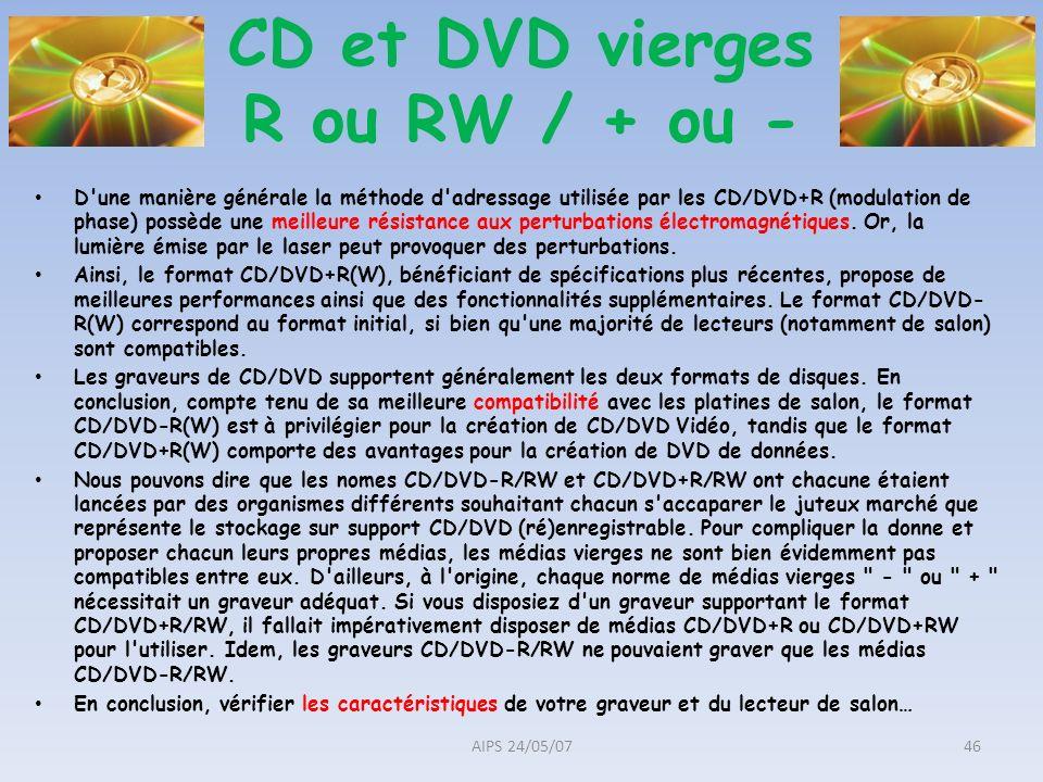 CD et DVD vierges R ou RW / + ou -