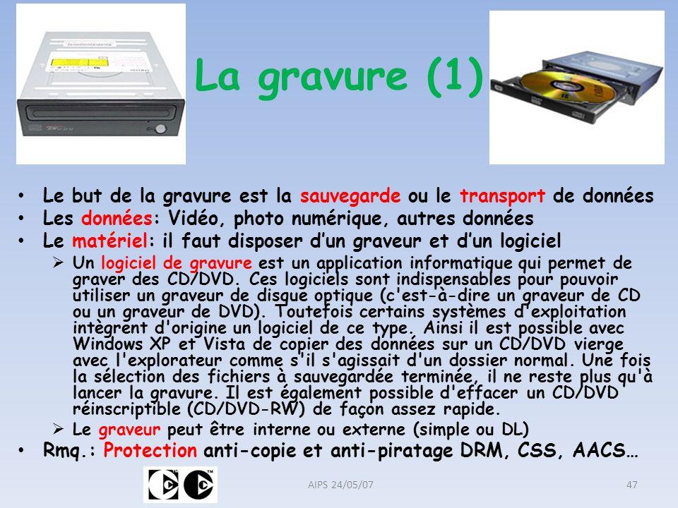 La gravure (1) Le but de la gravure est la sauvegarde ou le transport de données. Les données: Vidéo, photo numérique, autres données.
