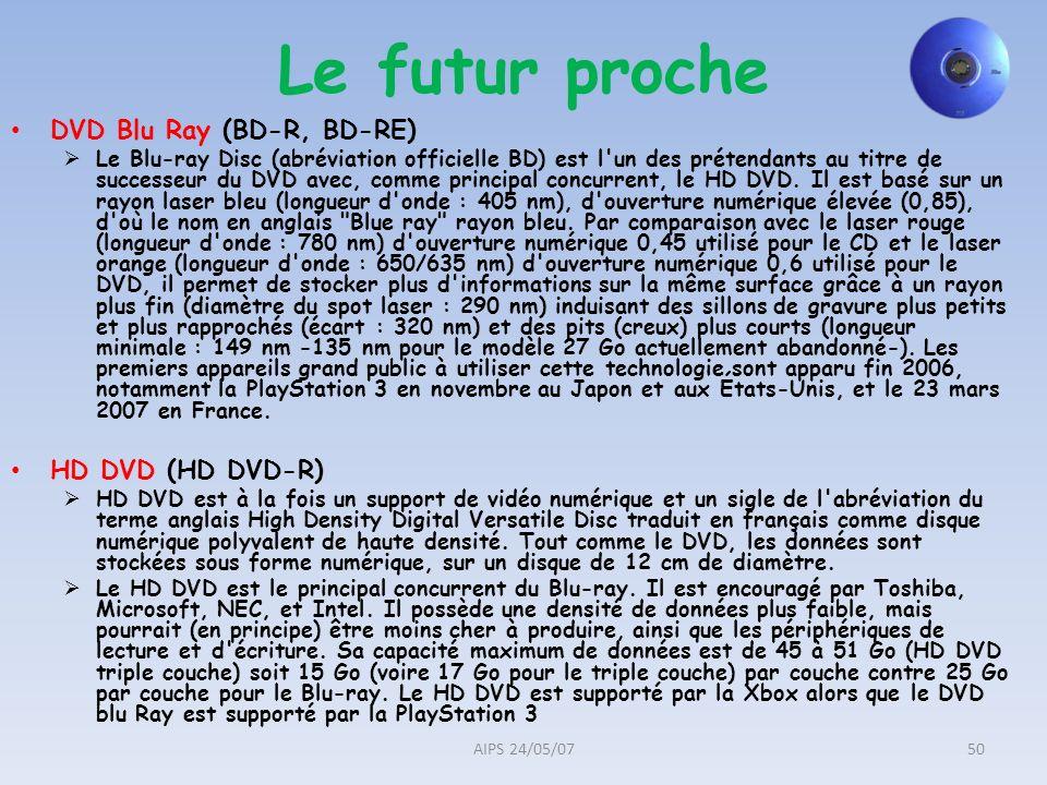 Le futur proche DVD Blu Ray (BD-R, BD-RE) HD DVD (HD DVD-R)