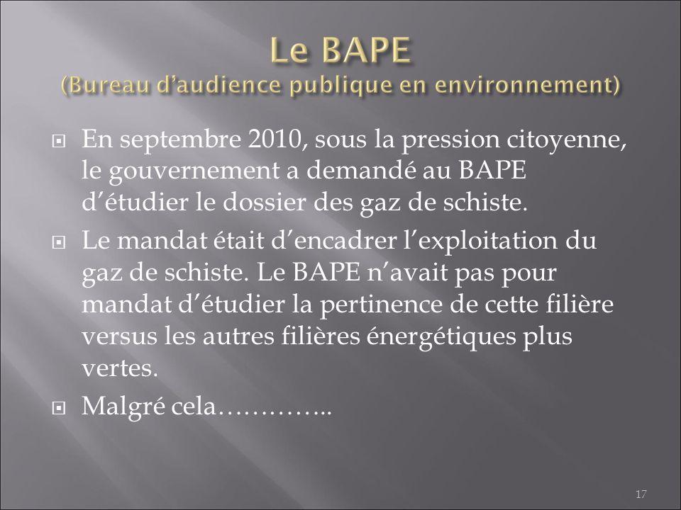 En septembre 2010, sous la pression citoyenne, le gouvernement a demandé au BAPE d'étudier le dossier des gaz de schiste.