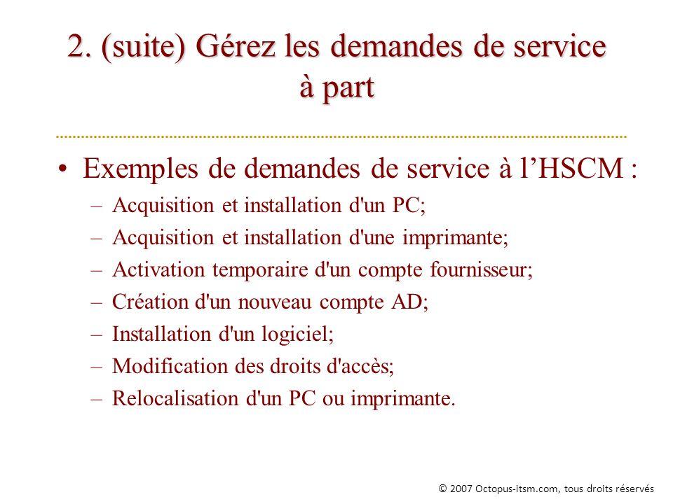 2. (suite) Gérez les demandes de service à part