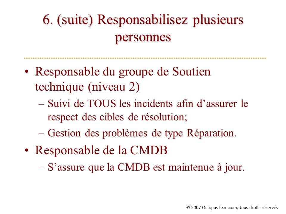 6. (suite) Responsabilisez plusieurs personnes