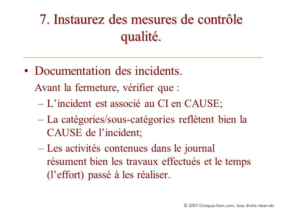 7. Instaurez des mesures de contrôle qualité.