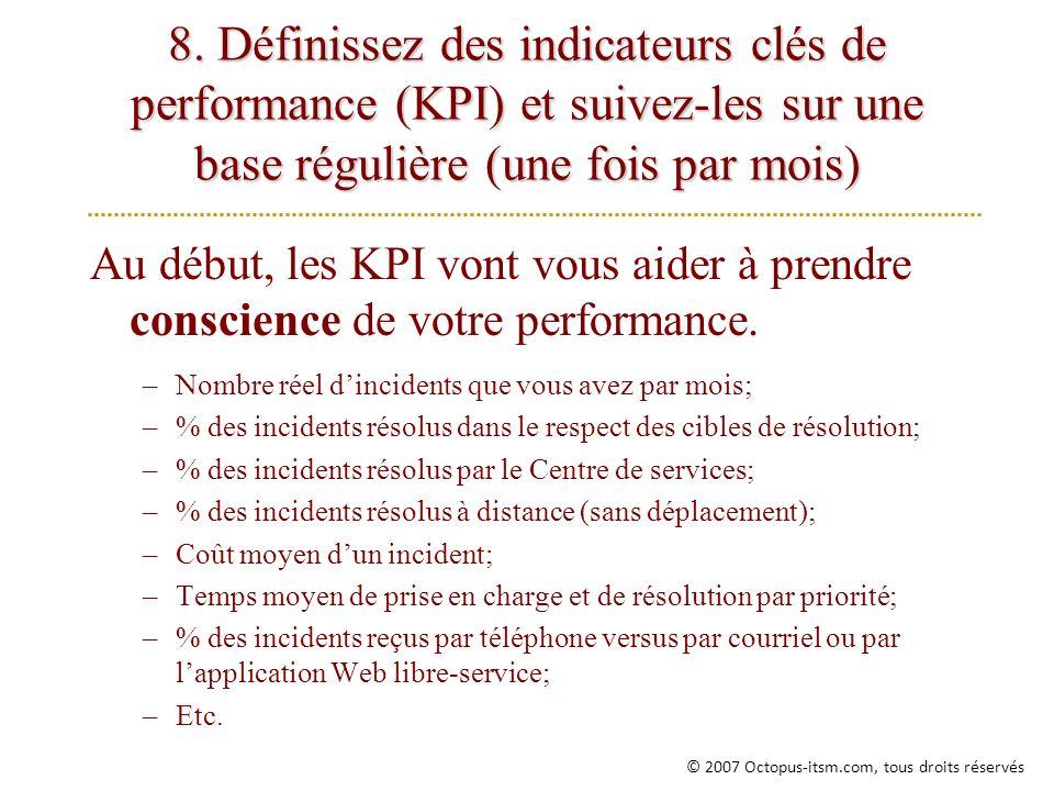 8. Définissez des indicateurs clés de performance (KPI) et suivez-les sur une base régulière (une fois par mois)