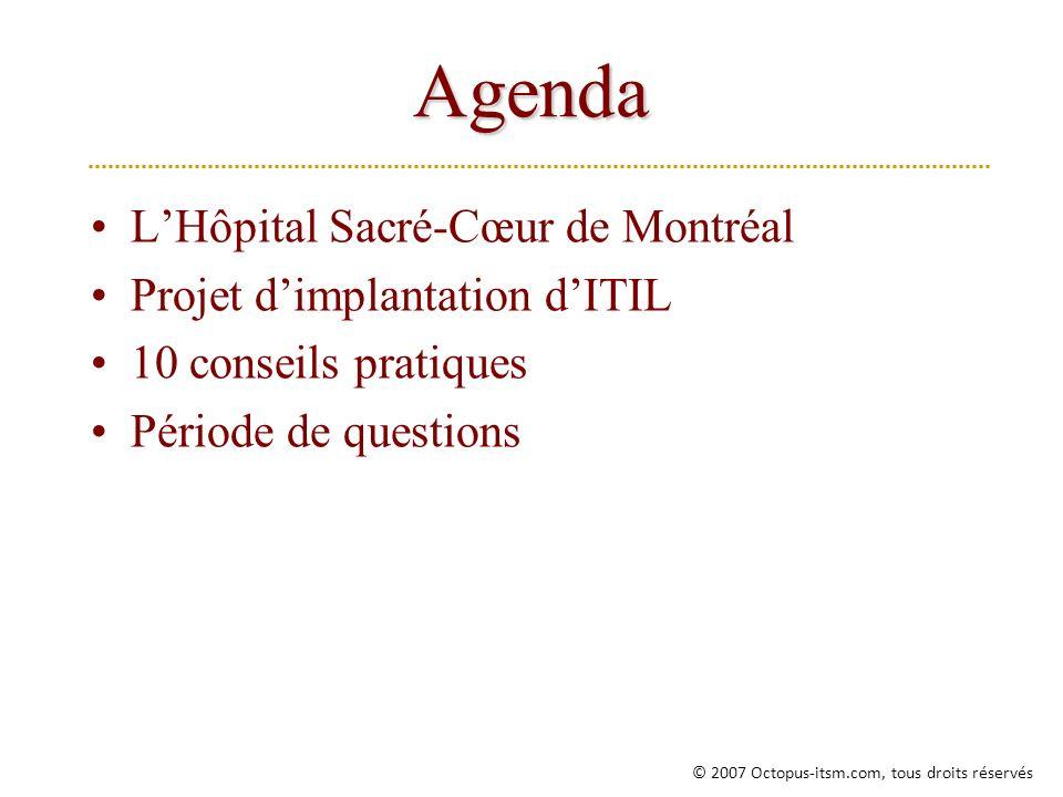 Agenda L'Hôpital Sacré-Cœur de Montréal Projet d'implantation d'ITIL