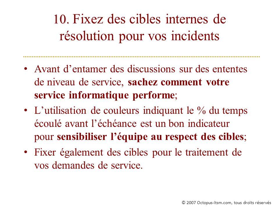 10. Fixez des cibles internes de résolution pour vos incidents