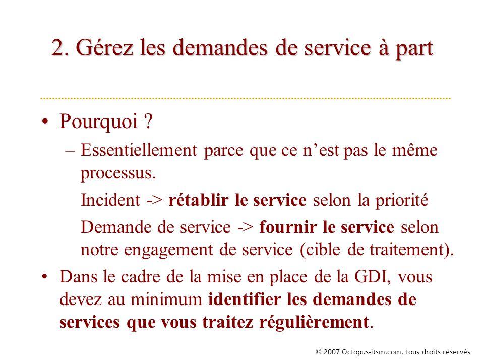 2. Gérez les demandes de service à part