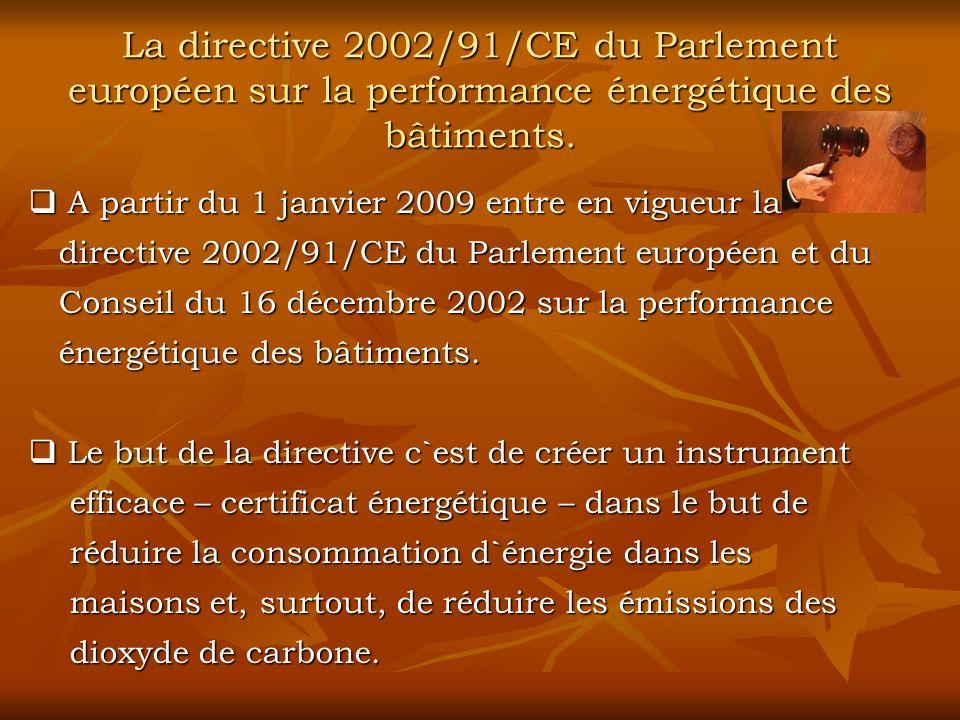 La directive 2002/91/CE du Parlement européen sur la performance énergétique des bâtiments.