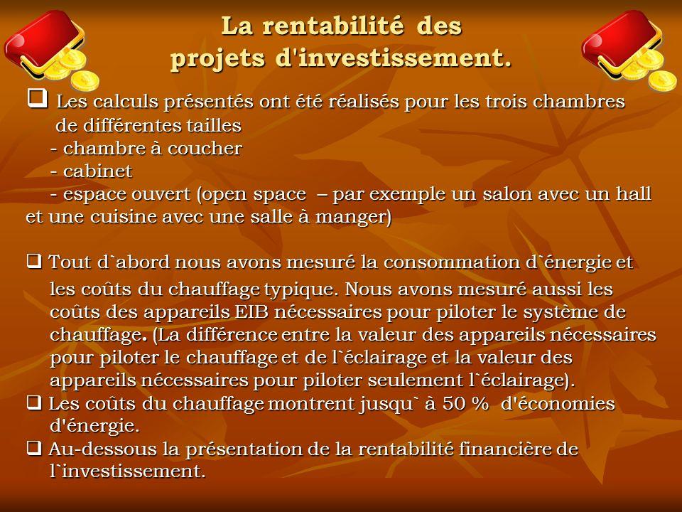 La rentabilité des projets d investissement.