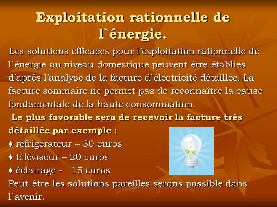 Exploitation rationnelle de l`énergie.
