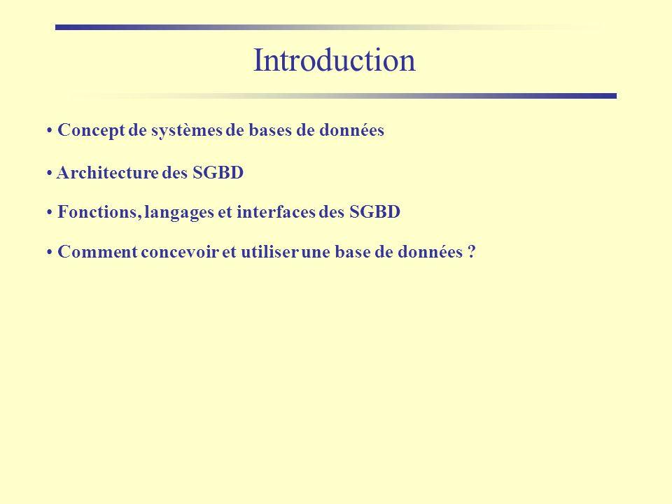 Introduction Concept de systèmes de bases de données