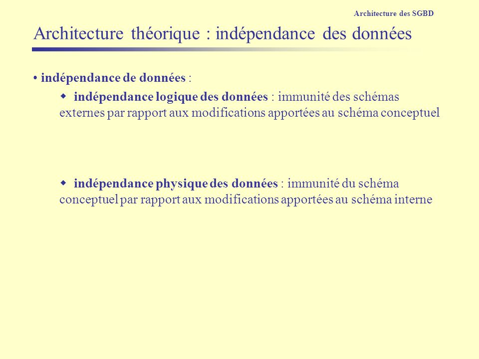 Architecture théorique : indépendance des données
