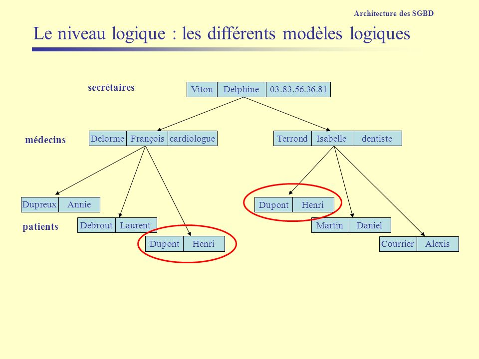 Le niveau logique : les différents modèles logiques