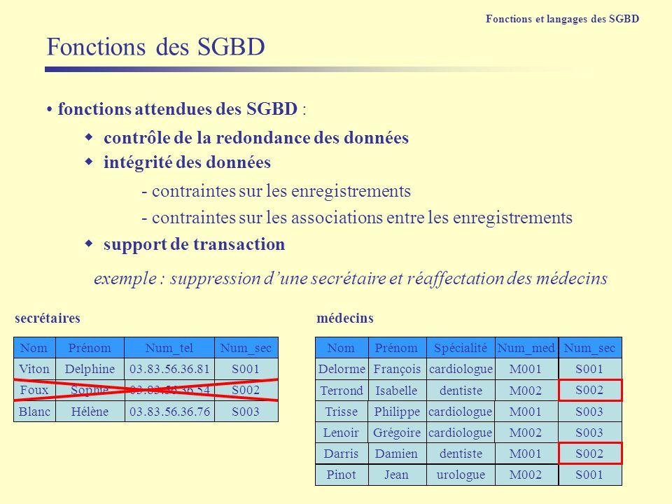 Fonctions des SGBD fonctions attendues des SGBD :