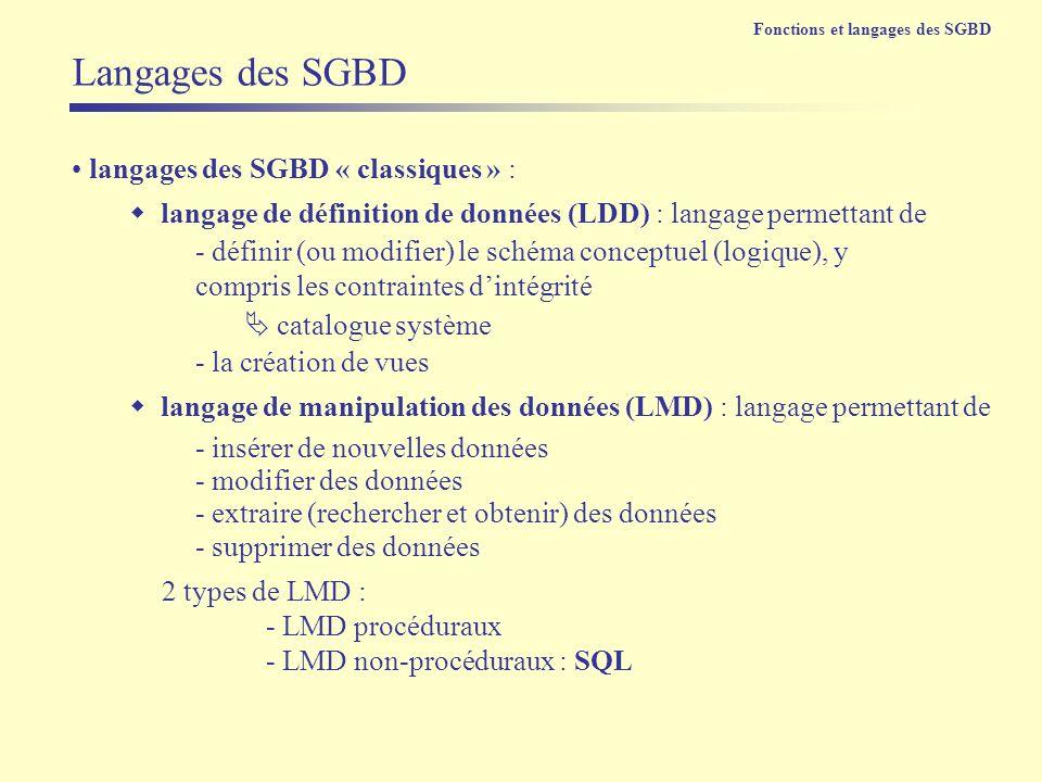 Langages des SGBD langages des SGBD « classiques » :