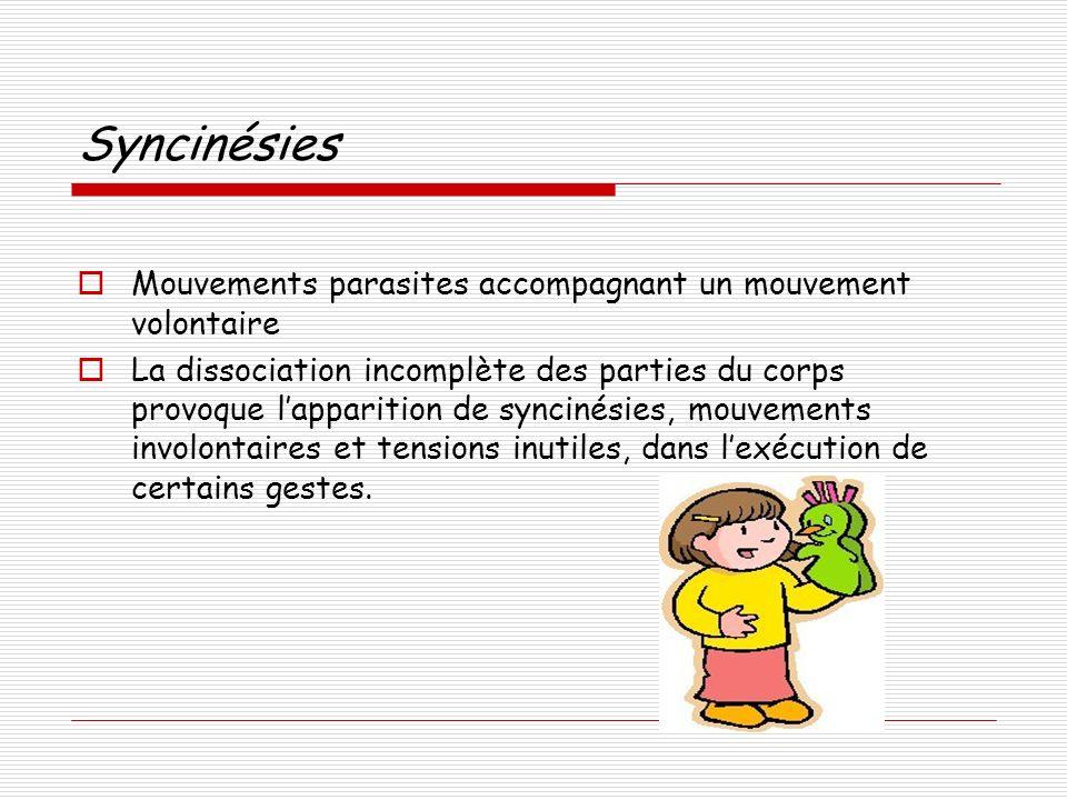 Syncinésies Mouvements parasites accompagnant un mouvement volontaire