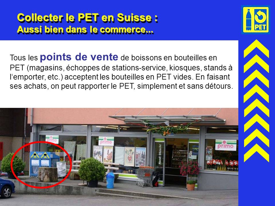 Collecter le PET en Suisse : Aussi bien dans le commerce...
