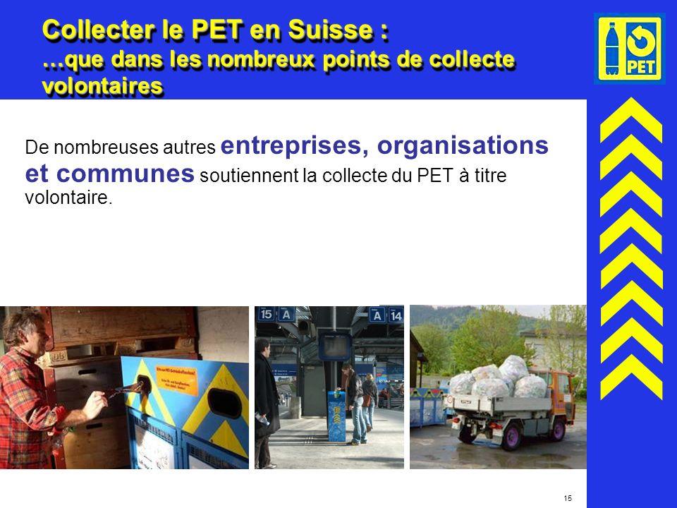Collecter le PET en Suisse : …que dans les nombreux points de collecte volontaires
