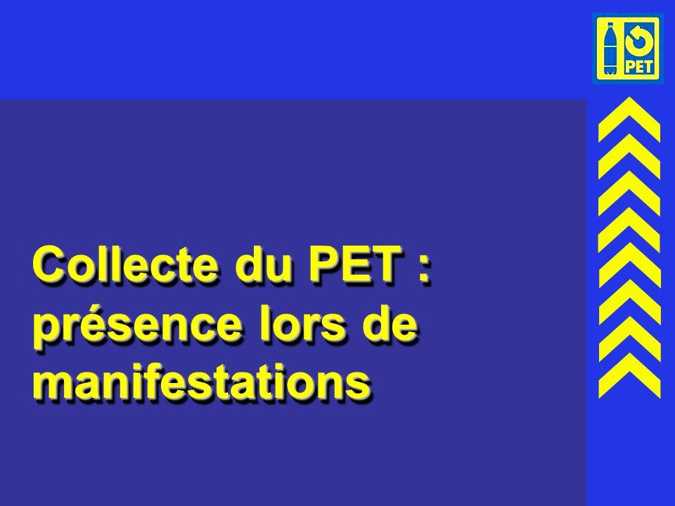 Collecte du PET : présence lors de manifestations