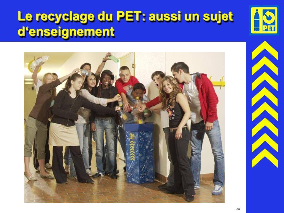 Le recyclage du PET: aussi un sujet d'enseignement