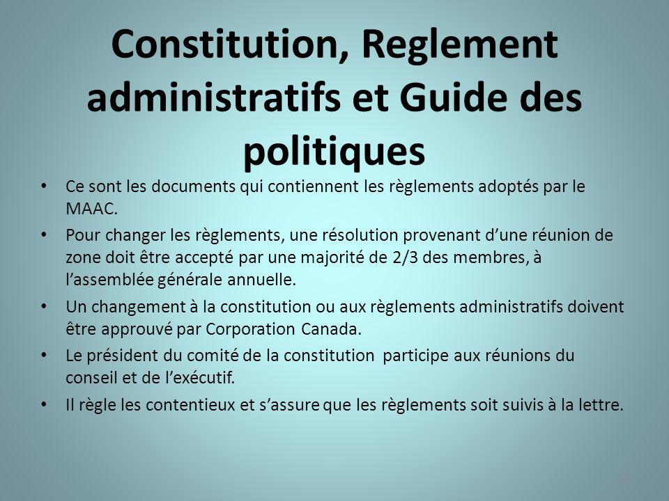 Constitution, Reglement administratifs et Guide des politiques