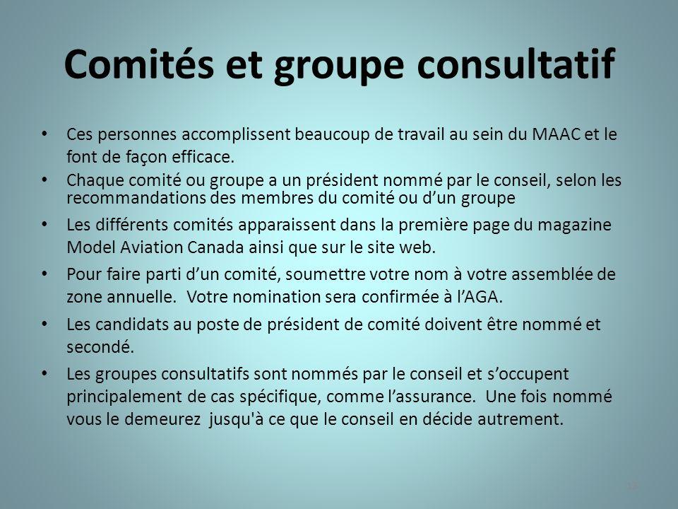 Comités et groupe consultatif