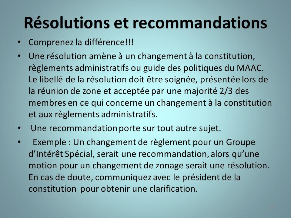 Résolutions et recommandations