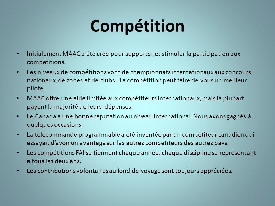 Compétition Initialement MAAC a été crée pour supporter et stimuler la participation aux compétitions.