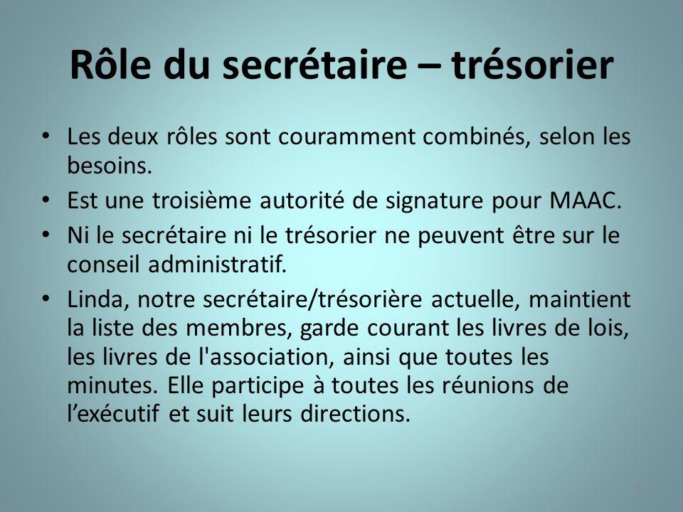 Rôle du secrétaire – trésorier