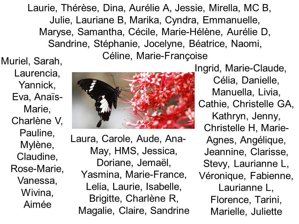Laurie, Thérèse, Dina, Aurélie A, Jessie, Mirella, MC B, Julie, Lauriane B, Marika, Cyndra, Emmanuelle, Maryse, Samantha, Cécile, Marie-Hélène, Aurélie D, Sandrine, Stéphanie, Jocelyne, Béatrice, Naomi, Céline, Marie-Françoise