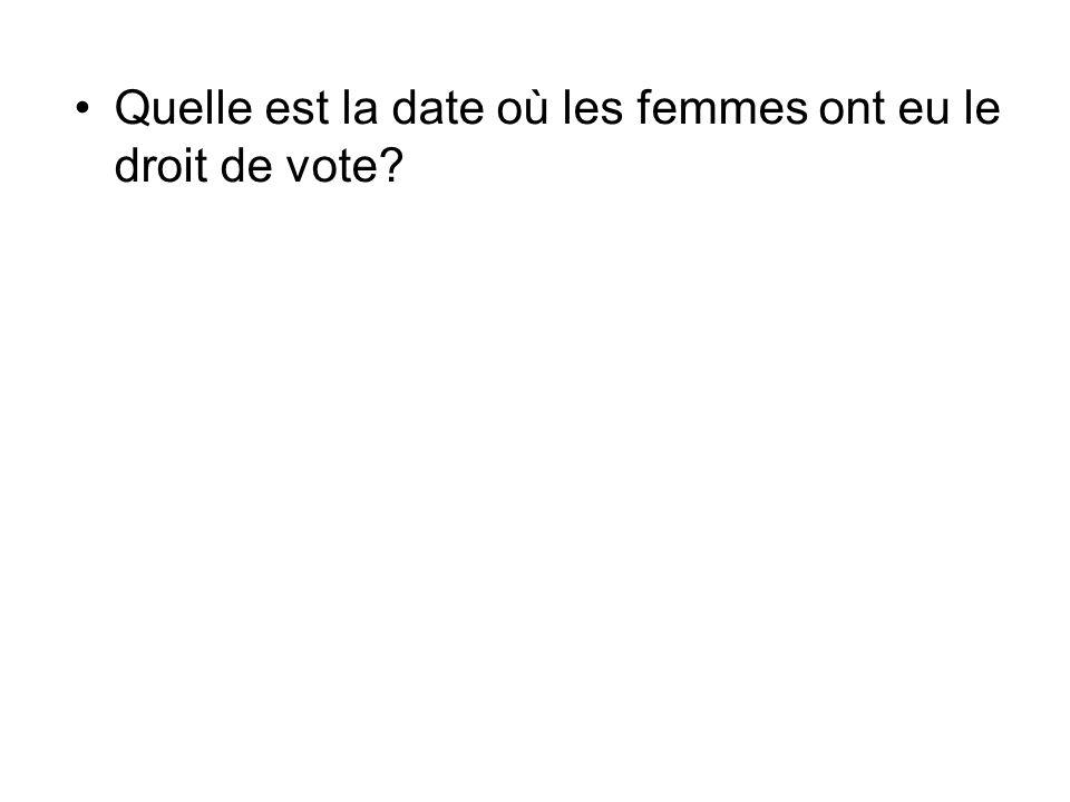 Quelle est la date où les femmes ont eu le droit de vote