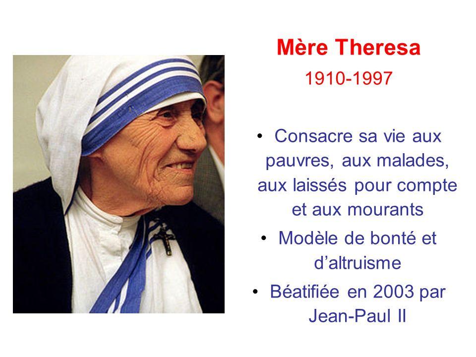 Mère Theresa 1910-1997. Consacre sa vie aux pauvres, aux malades, aux laissés pour compte et aux mourants.