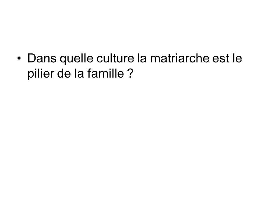 Dans quelle culture la matriarche est le pilier de la famille