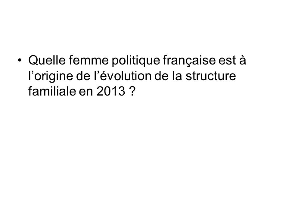 Quelle femme politique française est à l'origine de l'évolution de la structure familiale en 2013