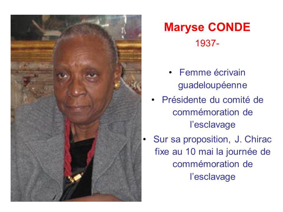 Maryse CONDE 1937- Femme écrivain guadeloupéenne