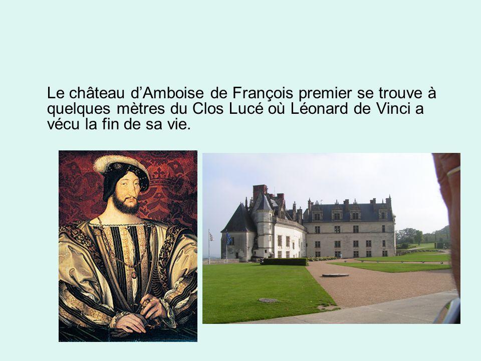 Le château d'Amboise de François premier se trouve à quelques mètres du Clos Lucé où Léonard de Vinci a vécu la fin de sa vie.