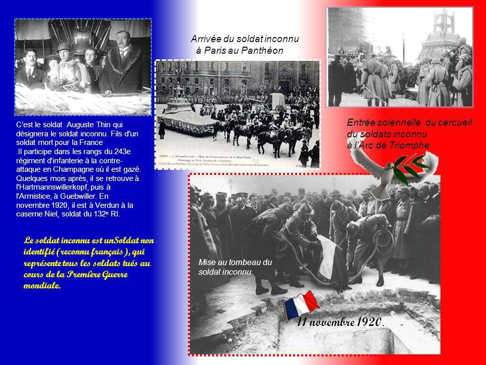 11 novembre 1920. Arrivée du soldat inconnu à Paris au Panthéon