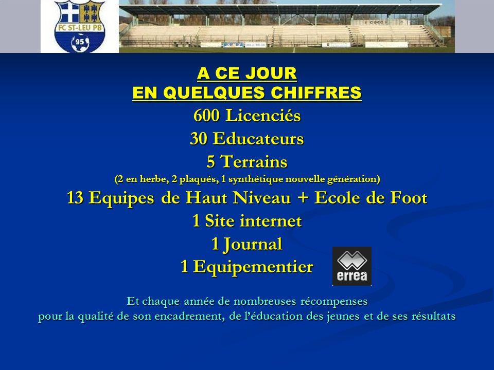 FC SAINT LEU PB 95 600 Licenciés 30 Educateurs 5 Terrains