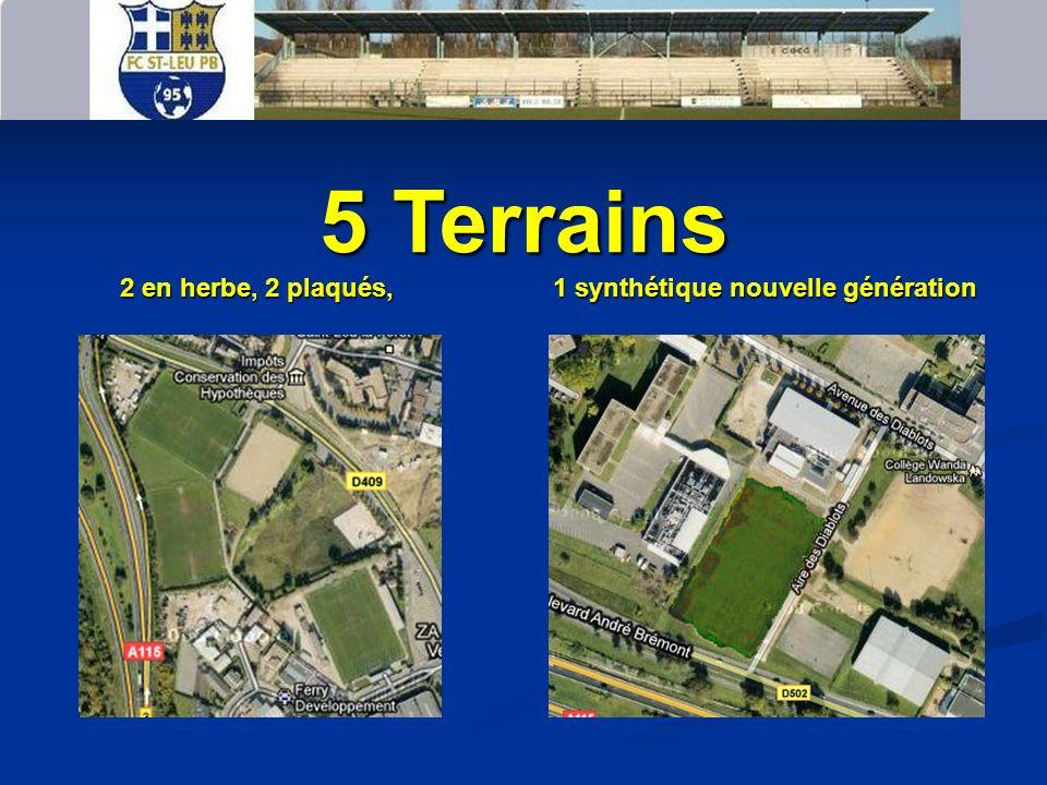 5 Terrains 2 en herbe, 2 plaqués, 1 synthétique nouvelle génération