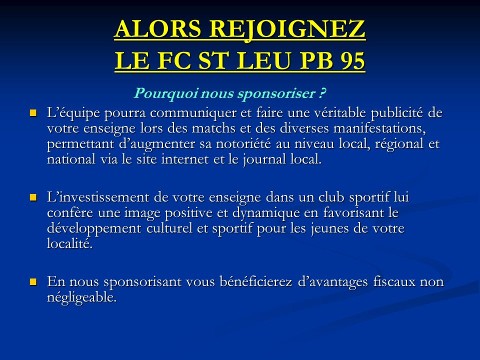 ALORS REJOIGNEZ LE FC ST LEU PB 95