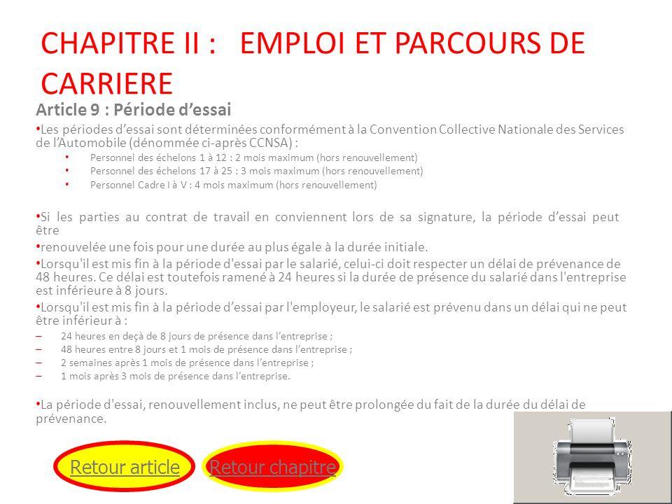 CHAPITRE II : EMPLOI ET PARCOURS DE CARRIERE