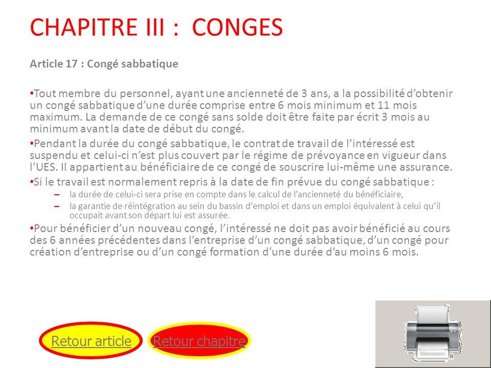 CHAPITRE III : CONGES Retour article Retour chapitre