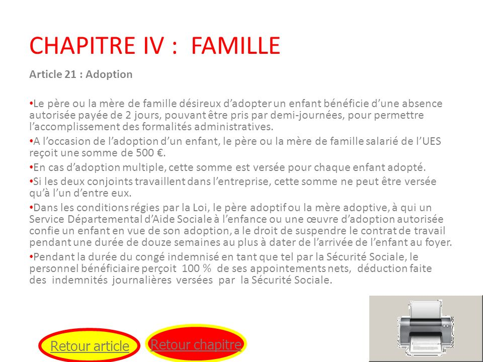 CHAPITRE IV : FAMILLE Retour chapitre Retour article